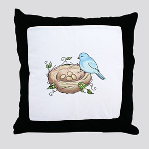 BIRD AND NEST Throw Pillow