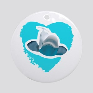 BELUGA WHALE IN HEART Ornament (Round)