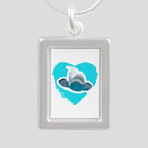 BELUGA WHALE IN HEART Necklaces