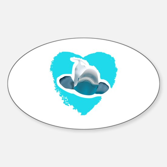 BELUGA WHALE IN HEART Decal