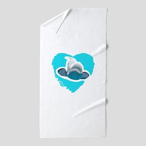 BELUGA WHALE IN HEART Beach Towel