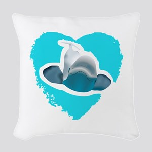 BELUGA WHALE IN HEART Woven Throw Pillow