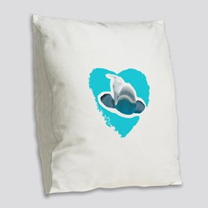 BELUGA WHALE IN HEART Burlap Throw Pillow