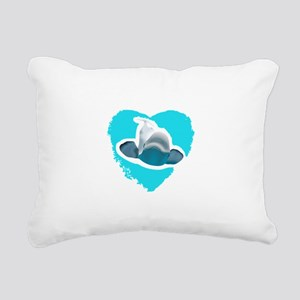 BELUGA WHALE IN HEART Rectangular Canvas Pillow