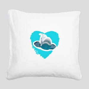 BELUGA WHALE IN HEART Square Canvas Pillow
