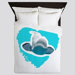 BELUGA WHALE IN HEART Queen Duvet