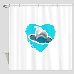 BELUGA WHALE IN HEART Shower Curtain