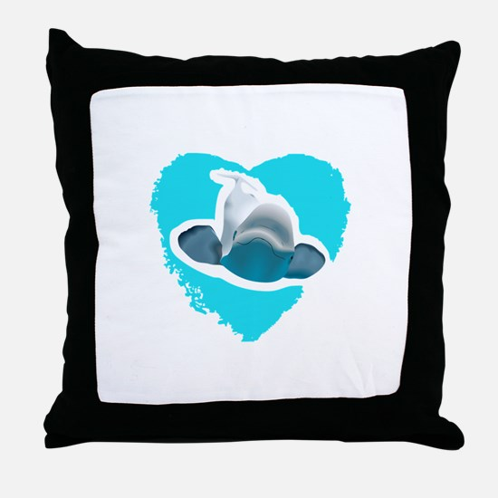 BELUGA WHALE IN HEART Throw Pillow
