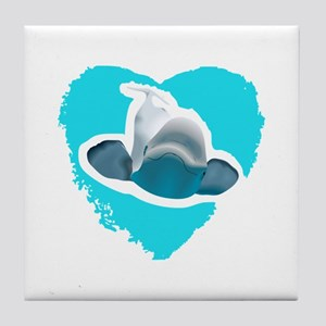 BELUGA WHALE IN HEART Tile Coaster
