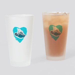BELUGA WHALE IN HEART Drinking Glass