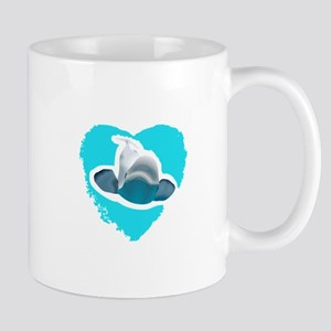 BELUGA WHALE IN HEART Mugs