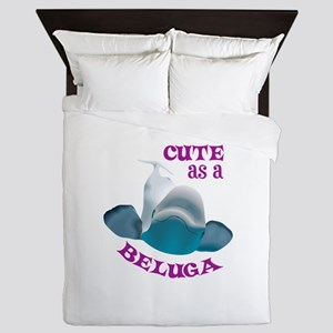 CUTE AS A BELUGA Queen Duvet