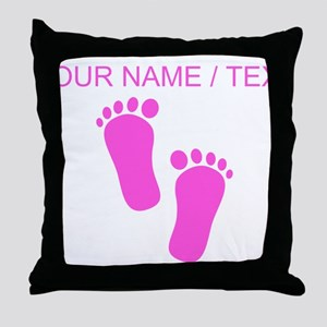 Custom Pink Baby Feet Throw Pillow