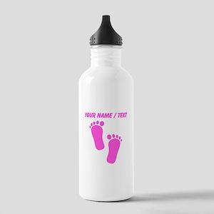Custom Pink Baby Feet Water Bottle