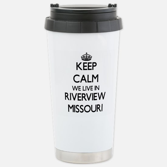 Keep calm we live in Ri Stainless Steel Travel Mug