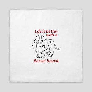 LIFES BETTER WITH BASSET Queen Duvet