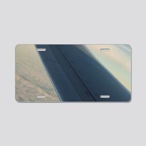 Airplane flying in sky wing Aluminum License Plate