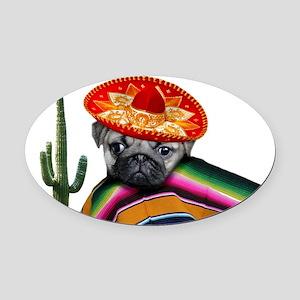 Mexican pug dog Oval Car Magnet
