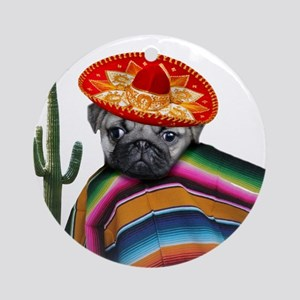 Mexican pug dog Ornament (Round)