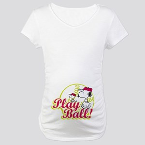 Play Ball Snoopy Maternity T-Shirt