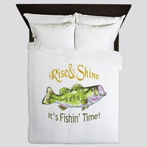 RISE AND SHINE FISHING TIME Queen Duvet