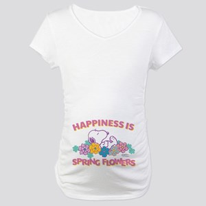 Snoopy Flowers Maternity T-Shirt