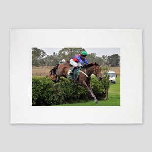 Racehorse and jockey jumping at ste 5'x7'Area Rug