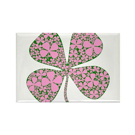 Pink Green Lucky Clover Rectangle Magnet (100 pack