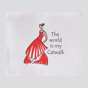 THE WORLD IS MY CATWALK Throw Blanket