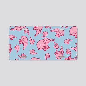 Pink Elephant Pattern Aluminum License Plate