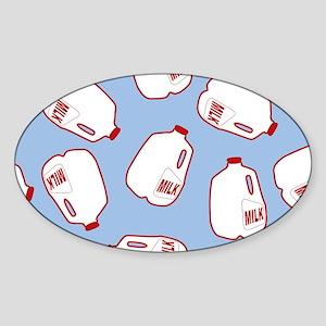 Milk Jugs Pattern Sticker (Oval)