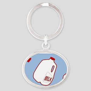 Milk Jugs Pattern Oval Keychain