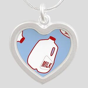 Milk Jugs Pattern Silver Heart Necklace