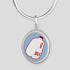 Milk Jugs Pattern Silver Oval Necklace