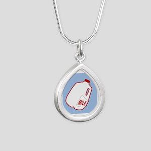 Milk Jugs Pattern Silver Teardrop Necklace