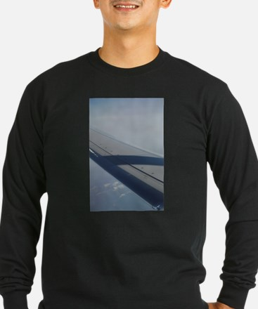 Airplane flying in sky wing in Long Sleeve T-Shirt