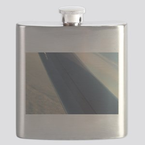 Airplane flying in sky wing in flight Flask