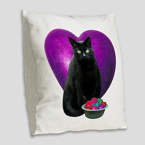 Cat Purple Heart Burlap Throw Pillow