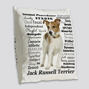 Jack Russell Traits Burlap Throw Pillow