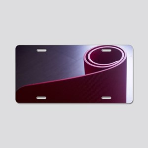 Red fitness yoga and pilate Aluminum License Plate