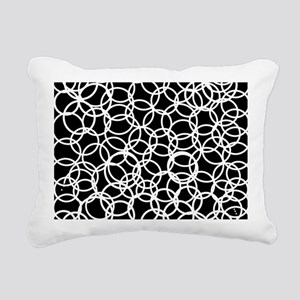 Circles black white Rectangular Canvas Pillow