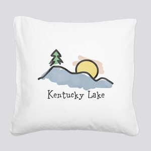 Lake Sunset Square Canvas Pillow