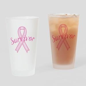 Breast Cancer Awareness Survivor Drinking Glass