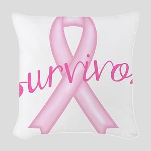 Breast Cancer Awareness Survivor Woven Throw Pillo