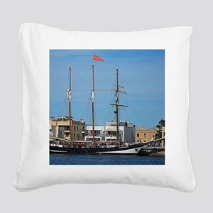 Tall Ships at Pt Adelaide Sou Square Canvas Pillow