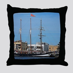 Tall Ships at Pt Adelaide South Austr Throw Pillow