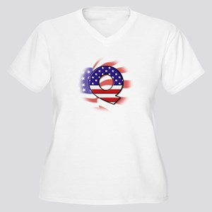 Flag Monogram Q Women's Plus Size V-Neck T-Shirt