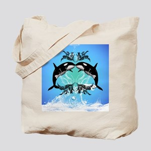Funny orcas with water splash Tote Bag
