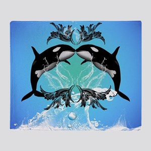 Funny orcas with water splash Throw Blanket