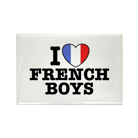 I Love French Boys Rectangle Magnet